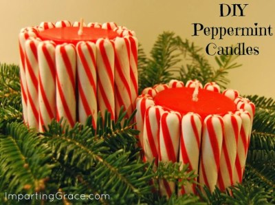 Peppermint Candy DIY Decor Candles