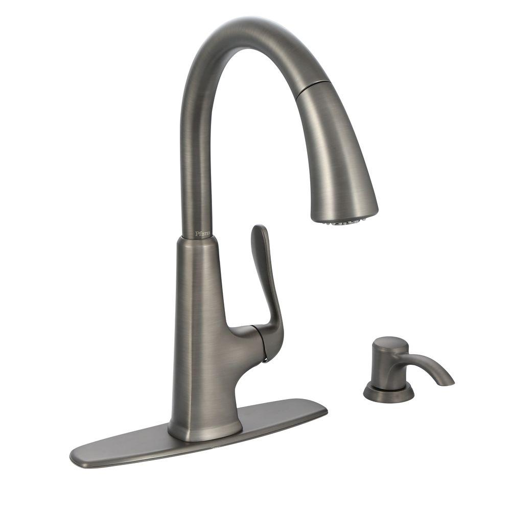 price pfister kitchen faucet Pfister Pasadena Single Handle Pull Down Sprayer Kitchen Faucet with Soap Dispenser in Tuscan Bronze F 7PDY The Home Depot