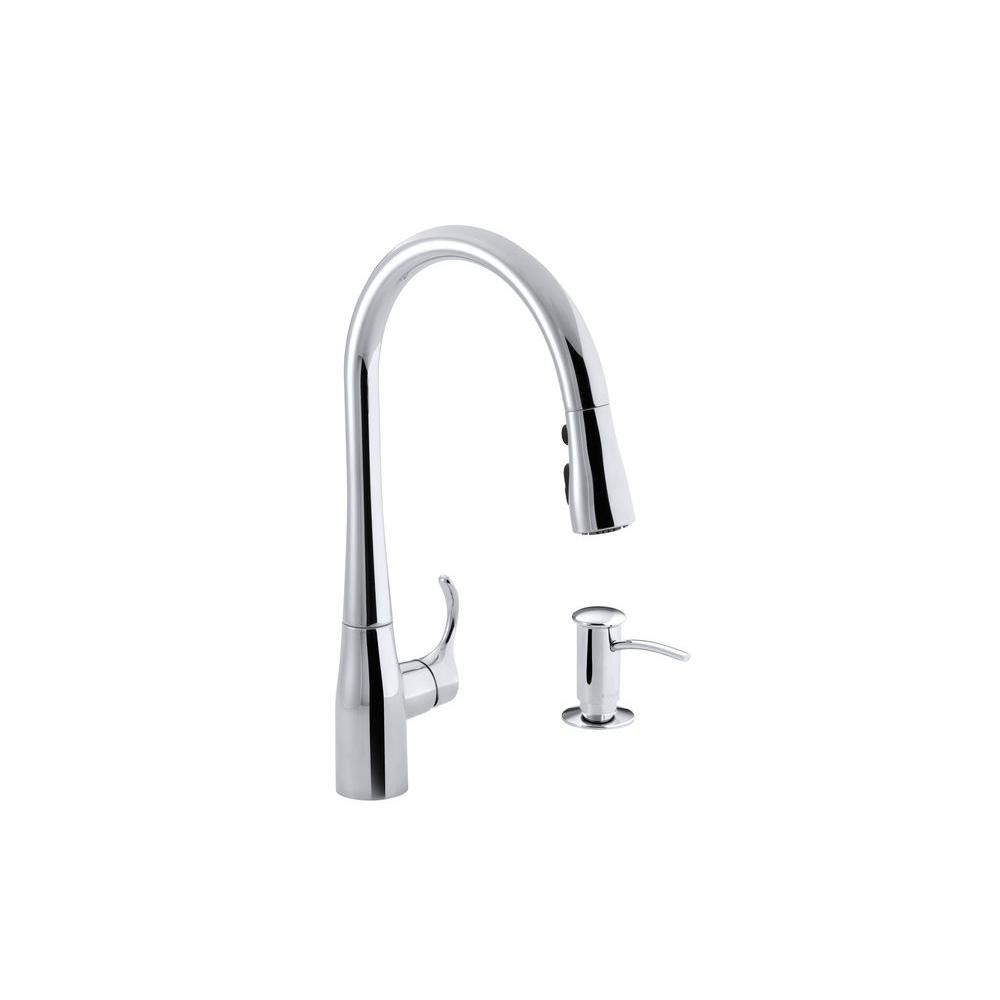 N h kitchen faucet sale Simplice Single Handle Pull Down Sprayer Kitchen Faucet in Polished Chrome