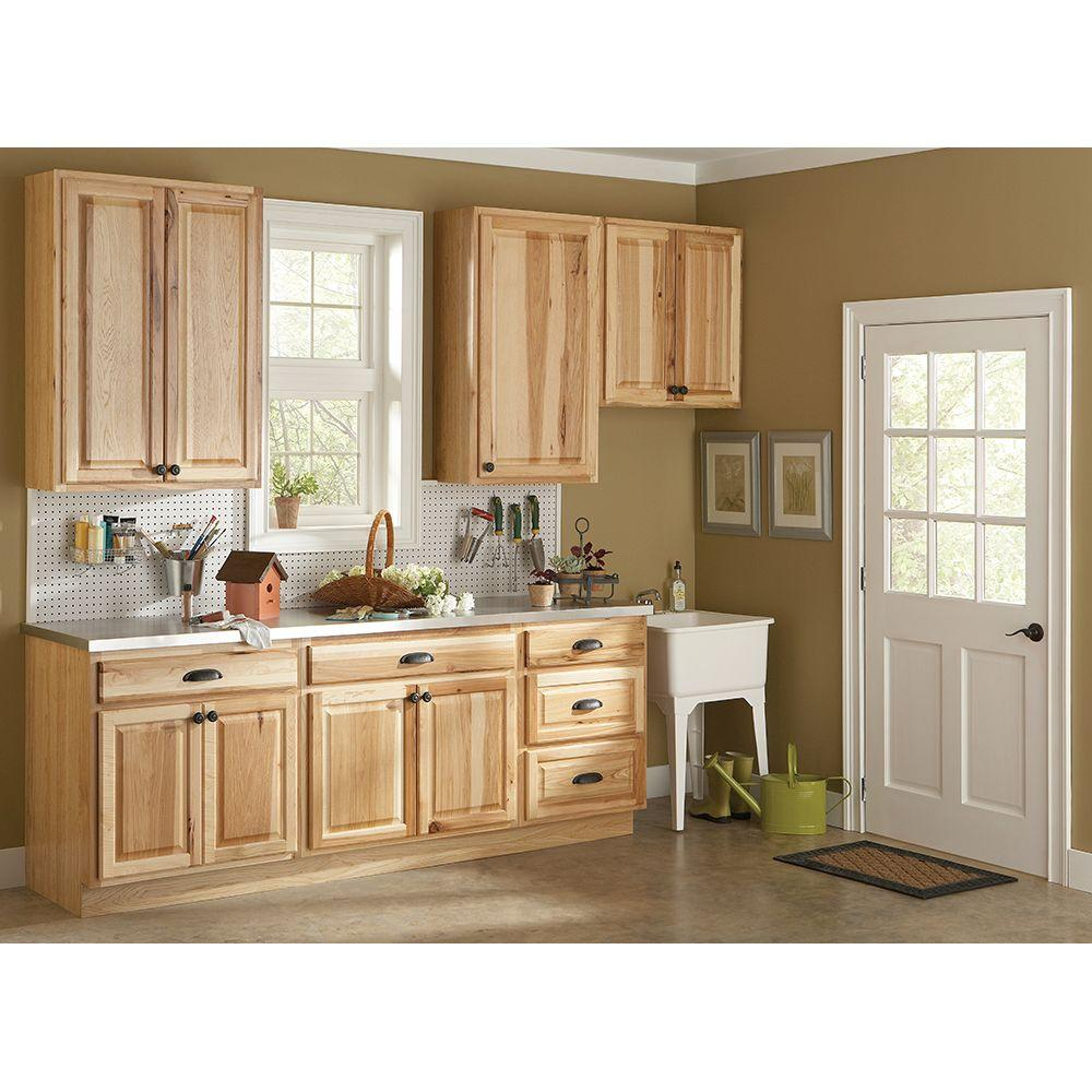 cabinets kitchen Hampton Bay Hampton Assembled in Wall Kitchen Cabinet in Natural Hickory KW NHK at The Home Depot Mobile