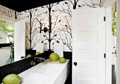 Black and White Wallpaper in 15 Bathrooms and Powder Rooms | Home Design Lover
