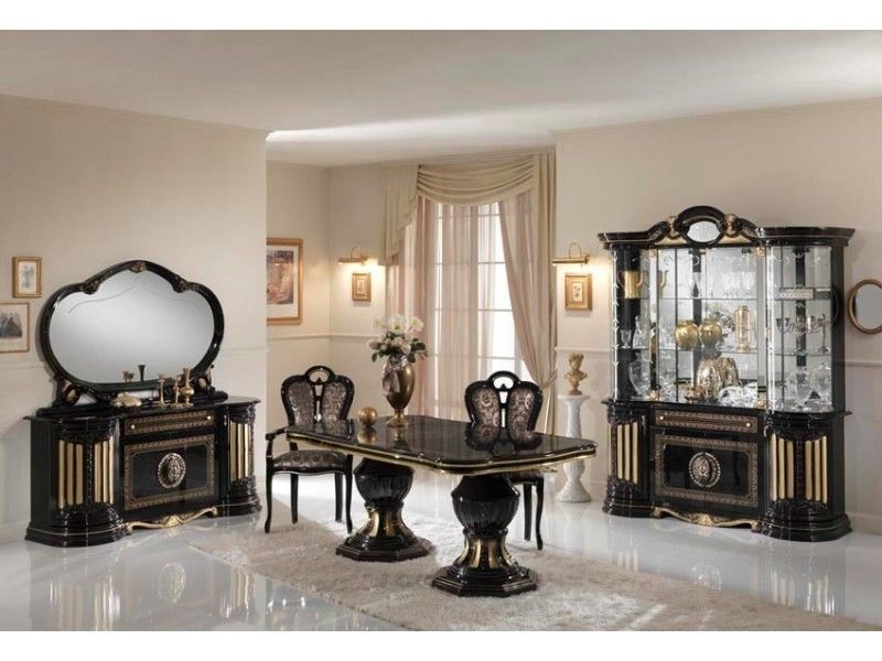 Homegenies Gold U0026 Black Italian Furniture Sets High Gloss Dining Table And Chairs