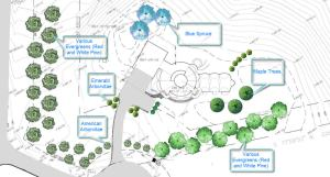 Rough landscape plan that we sent to the architectural committee