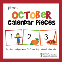October Calendar Numbers and Header - Free Printable