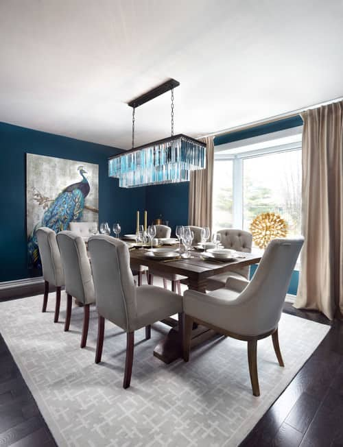 Traditional Blue Dining Room With White Accent Chair And Parquet ...