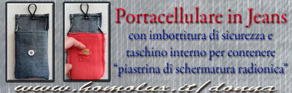 """Portacellulare in jeans con """"schermatura radionica"""""""