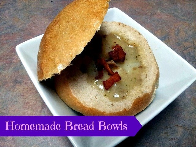 Bread bowl with baked potato soup