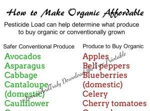 What to buy organic free printable
