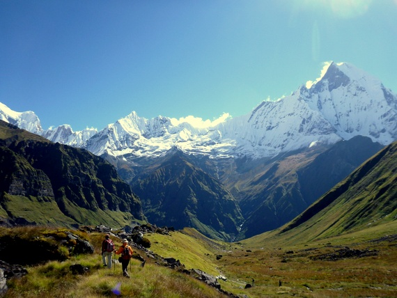 Trekking in Nepal beneath Machapuchare