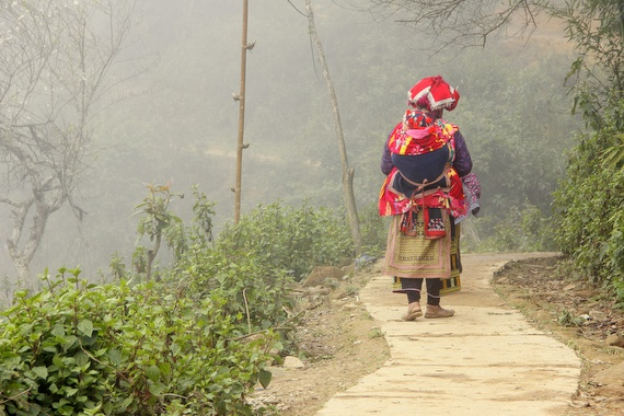 Red Dao lady walking in Vietnam