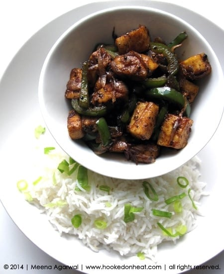 Recipe for Chilli Paneer, taken from www.hookedonheat.com. Visit site for detailed recipe.