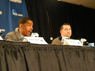 Connecticut head coach Kevin Ollie addresses the media after his team advanced to the Final Four (Ray Floriani photo)