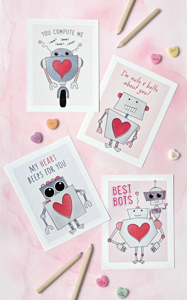 Printable Robot Valentine Cards