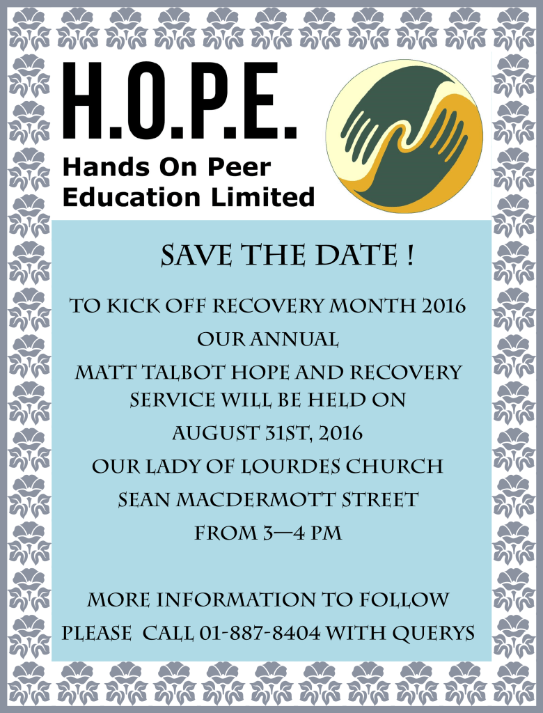 SAVE THE DATE - Matt Talbot 2016