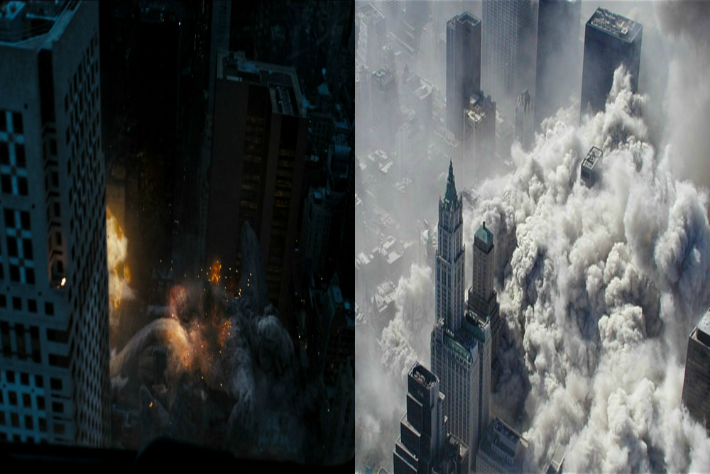 Smoke as an indicator of destruction in the film (left) and in real life (right)