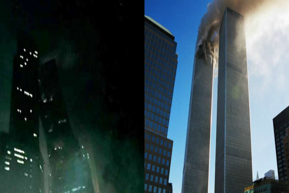 Buildings on the verge of collapse. Cloverfield scene (left) and scene from 9-11 (right)
