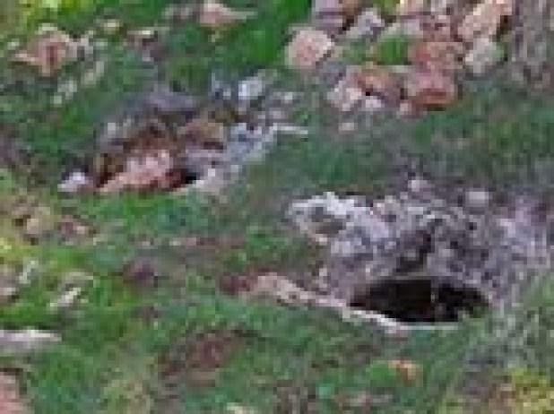 פתח עגול בתקרת המערה ופתח תעלת הכניסה