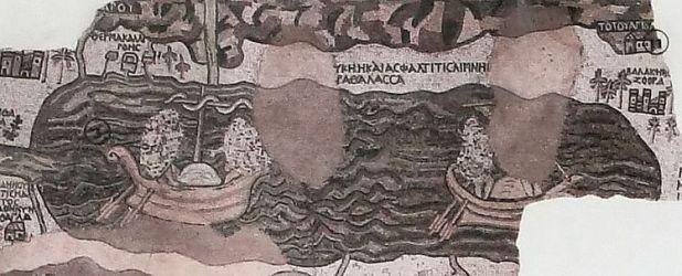 ים המלח במפת מידבא - צוער נראית בין עצי התמר מימין צילום: Ori~