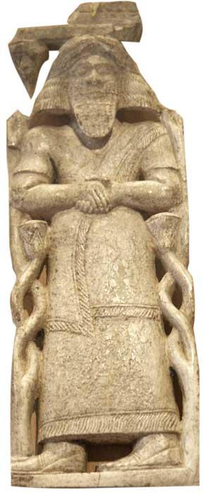 שיבוץ שנהב שייתכן שמתאר את דמותו של חזאל. ממלכת חדתה הארמית