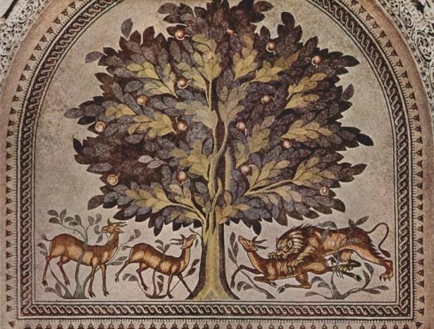 הפסיפס באולם הצדדי של בית המרחץ ח'רבת אל-מפג'ר