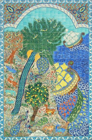 """""""רזי גן העדן"""" (2004) של מרי בליאן, אריחי קרמיקה על גבי בניין ברח' כורש 14, ירושלים."""