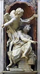 Cappella Chigi, Habacuc and the angel, Basilica of Santa Maria del Popolo by Bernini