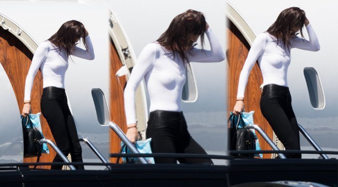 Kendall Jenner – Braless Candids in Sydney