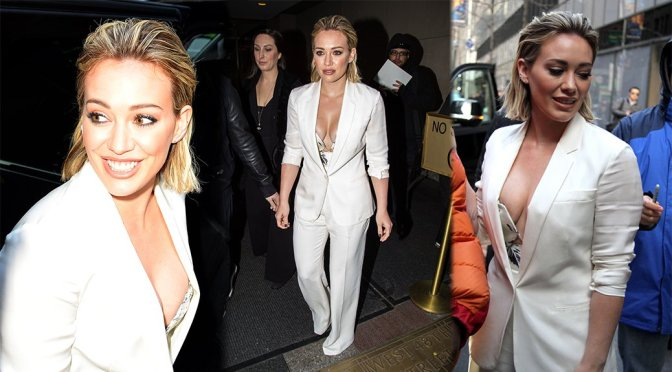 Hilary Duff – Cleavage Candids in New York