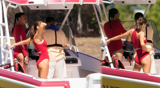 "Alexandra Daddario – Swimsuit Candids on ""Baywatch"" Set in Miami"
