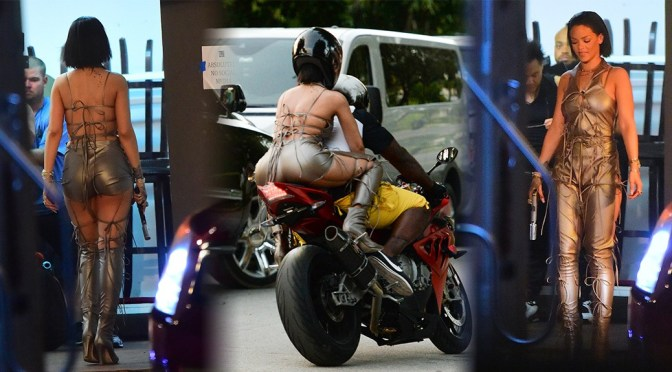 Rihanna on Music Video Set in Miami