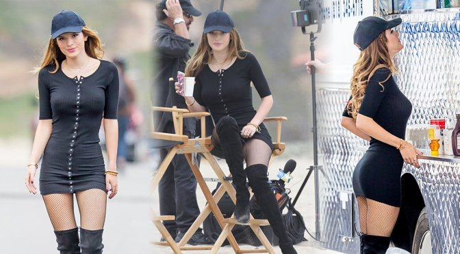 "Bella Thorne – Braless Candids on ""You Get Me"" Movie Set in San Pedro"