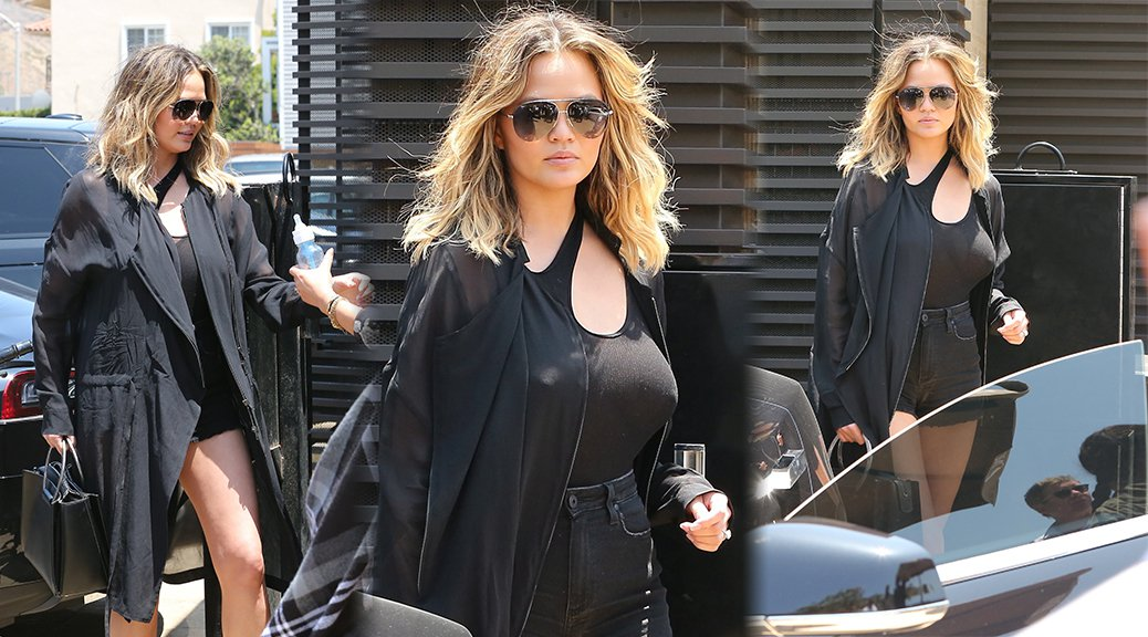 Chrissy Teigen - Braless Candids in Malibu