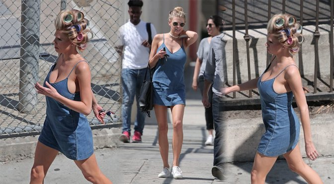 "Charlotte McKinney – ""Literally Right Before Aaron"" Movie Set in Los Angeles"