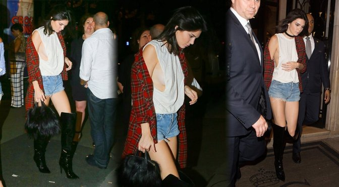 Kendall Jenner – Braless Candids in Paris