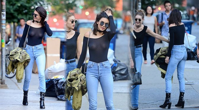 Kendall Jenner – Braless See-Through Candids in New York