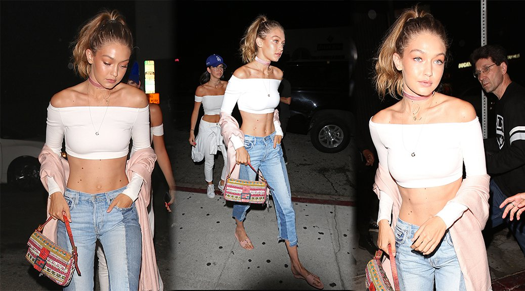 Gigi Hadid - Braless Candids in West Hollywood