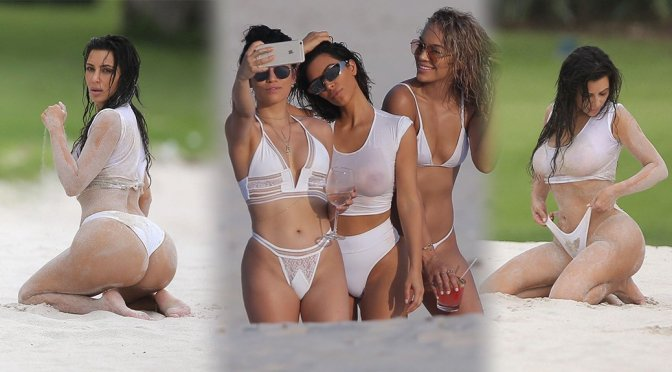 Kim Kardashian – Wet T-Shirt Photoshoot Candids in Mexico