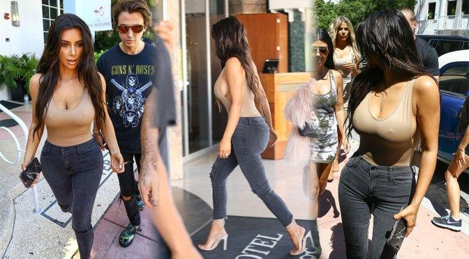 Kim Kardashian – Braless Candids in Miami