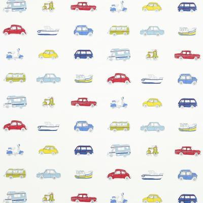 Go Go Retro Fabric - Strawberry/Sky Blue/Lemon/Natural (3232) - Harlequin What a Hoot Fabrics ...