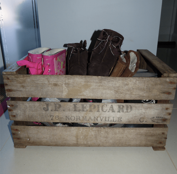 Old wooden French crates for shoes