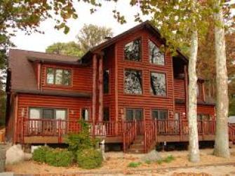 stained log home