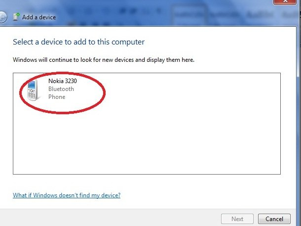search bluetooth device in windows 7