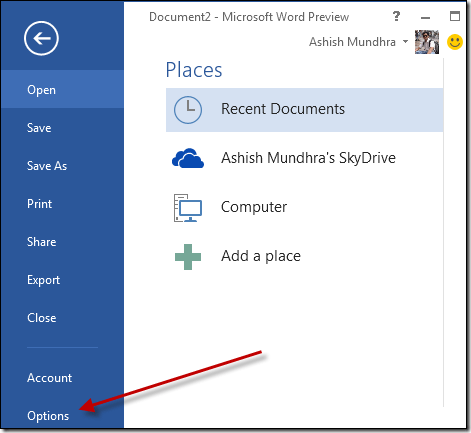 ms office 2013 word options