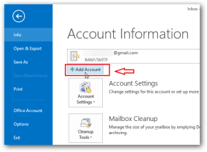 outlook 2013 add gmail account