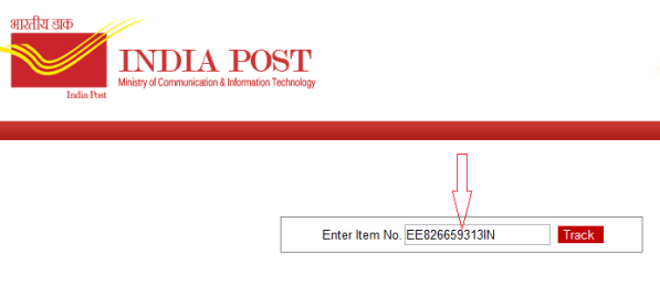enter item no in india post website searchbox