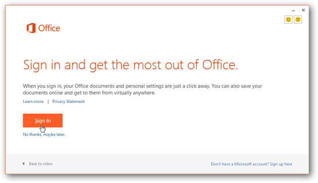 sign in for continue setup office 2013