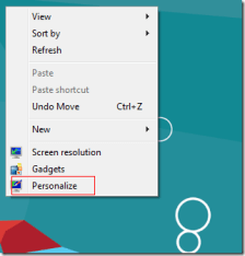windows 8 personalize menu