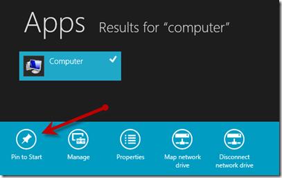 windows 8 pin to start menu