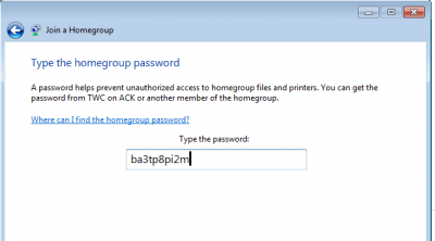 Insert password for homegroup connection