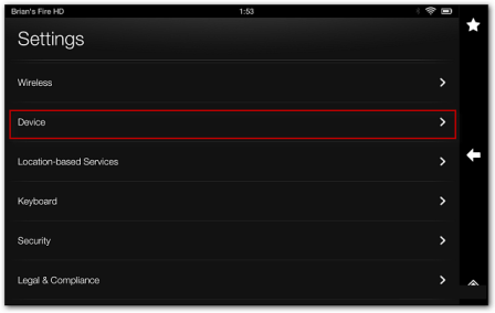 kindle fire hd tablet  settings panel